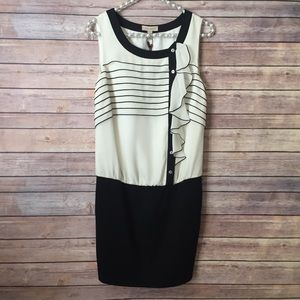 Ted Baker White and Black Drop Waist Blouson Dress
